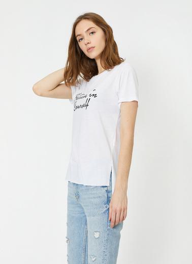 Koton Kisa Kollu Baskili T-Shirt Ekru